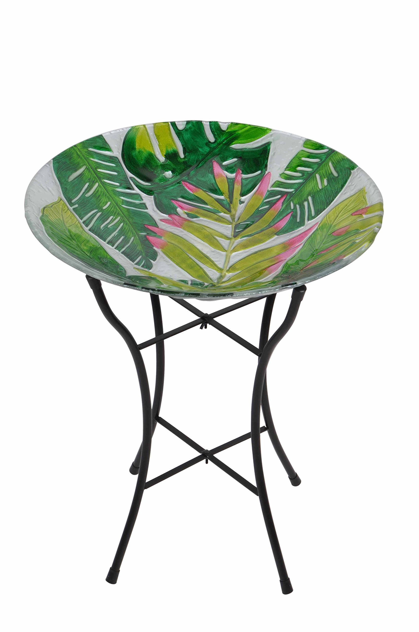Peaktop Outdoor 18'' Tropical Glass Birdbath w/Metal Stand - Green by Peaktop
