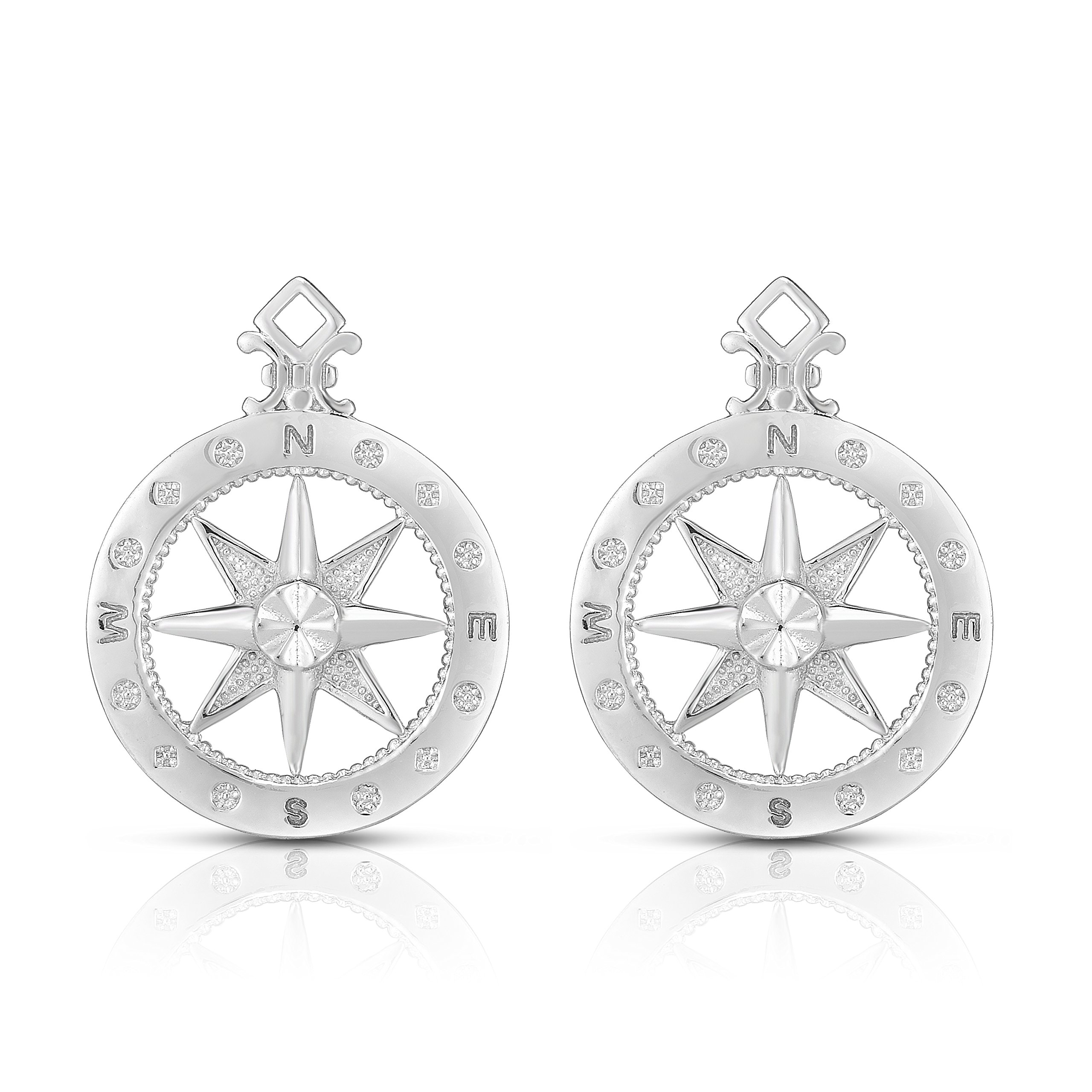 925 Sterling Silver Elegant Compass-Rose Post Earrings. (Natural Silver)