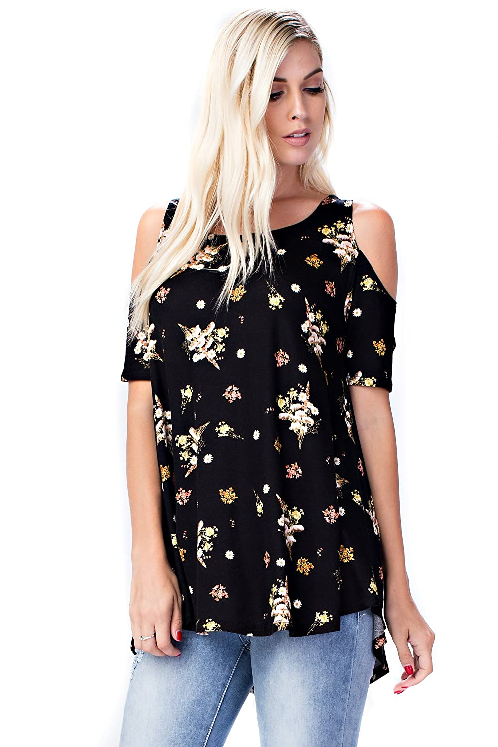B3517 Black Yellow Floral Allora Betsy Red Couture Women's Cold Shoulder Soft Knit Tunic Top (S3X)