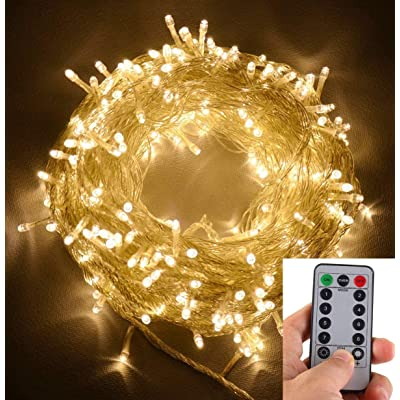echosari 100 LEDs Outdoor LED Fairy String Lights Battery Operated with Remote (Dimmable, Timer, 8 Modes) - Warm White : Garden & Outdoor