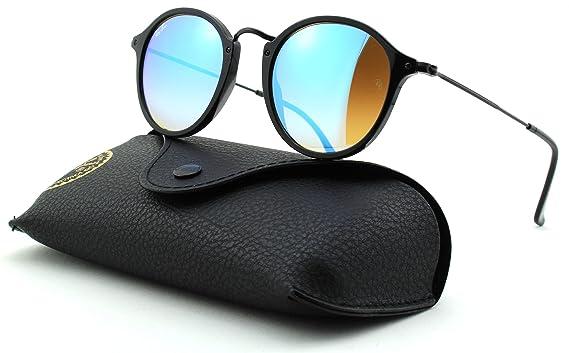 69e0cd9aab Amazon.com  Ray-Ban RB2447 Gradient Unisex Round Sunglasses (Shiny Black  Frame Mirror Gradient Blue Lens 901 4O