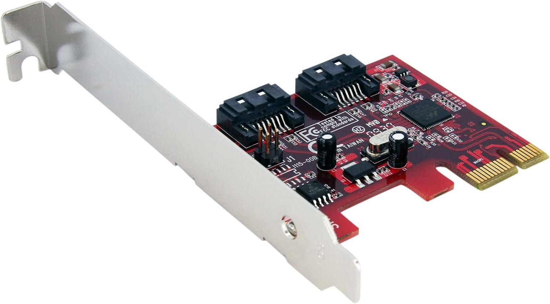 StarTech.com 2 Port SATA 6 Gbps PCI Express SATA Controller Card - Dual Port PCIe SATA III Card Adapter (PEXSAT32)