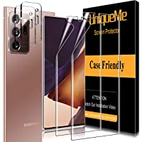 [ 4 Pack ] UniqueMe 2 Pack TPU Soft Screen Protector + 2 Pack Camera Lens Protector Tempered Glass for Samsung Galaxy Note 20 Ultra,[Anhydrous adsorption] Flexible Film HD TPU Clear Anti-Scratch Film