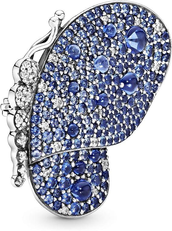 PANDORA Broche papillon bleu éblouissant en argent sterling 925 – 697996NCB
