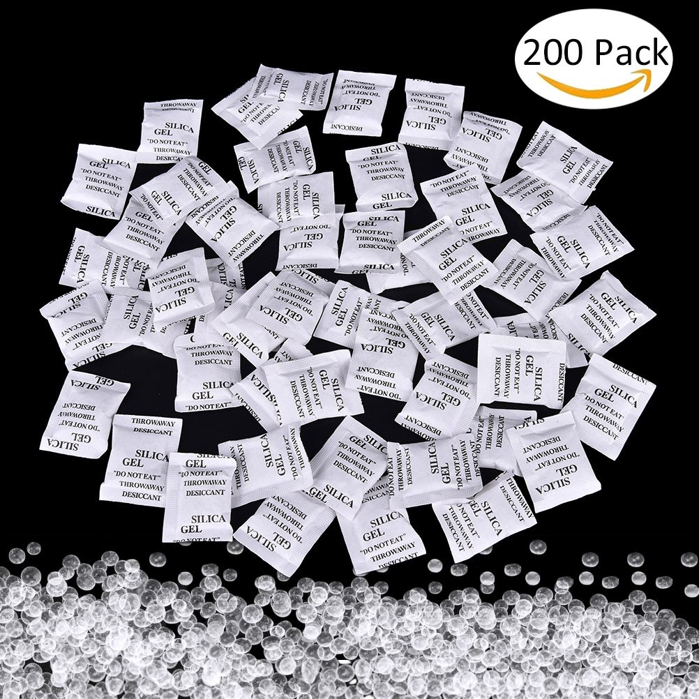 Desiccant Bags, 200 Pack x 1g Silica Gel Sachet Packet Moisture Damp Absorber Dehumidifier Mildew Odors FAVOLOOK UK20171031015
