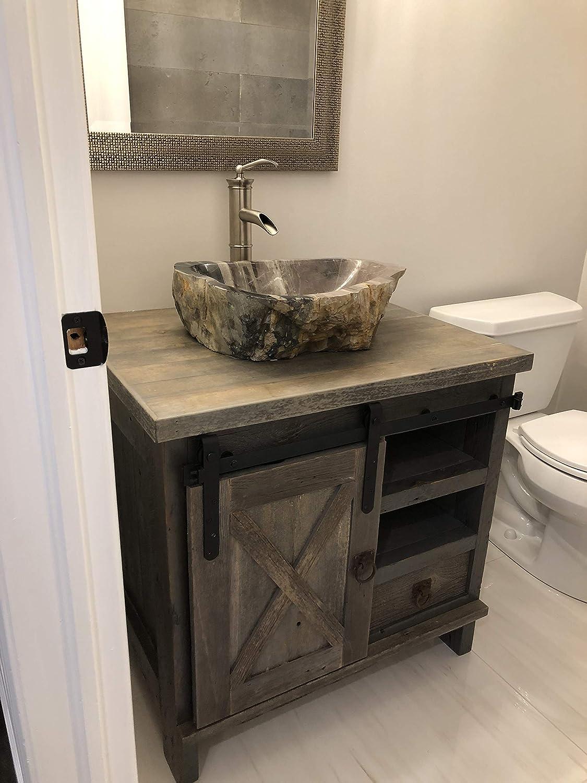 Amazon Com Sliding Door Barnwood Vanity 24 Inch Home Improvement