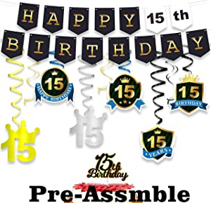 wongmode 15th Birthday Decorations Set - Happy Birthday Theme Swirls Streamers Garland Banner and Cake Topper Cheers to 15 Years Old Party Supplies