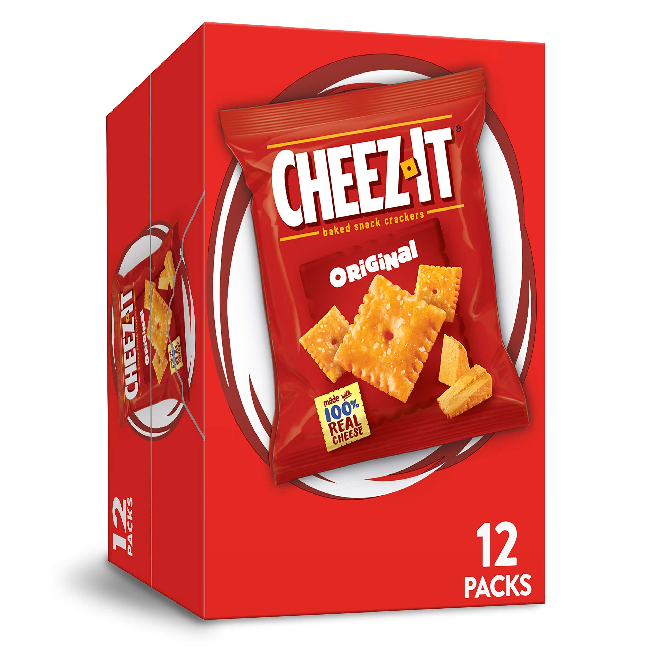 Cheez-It Baked Snack Cheese Crackers, Original, Single Serve, 1 oz Bags (12 Count)