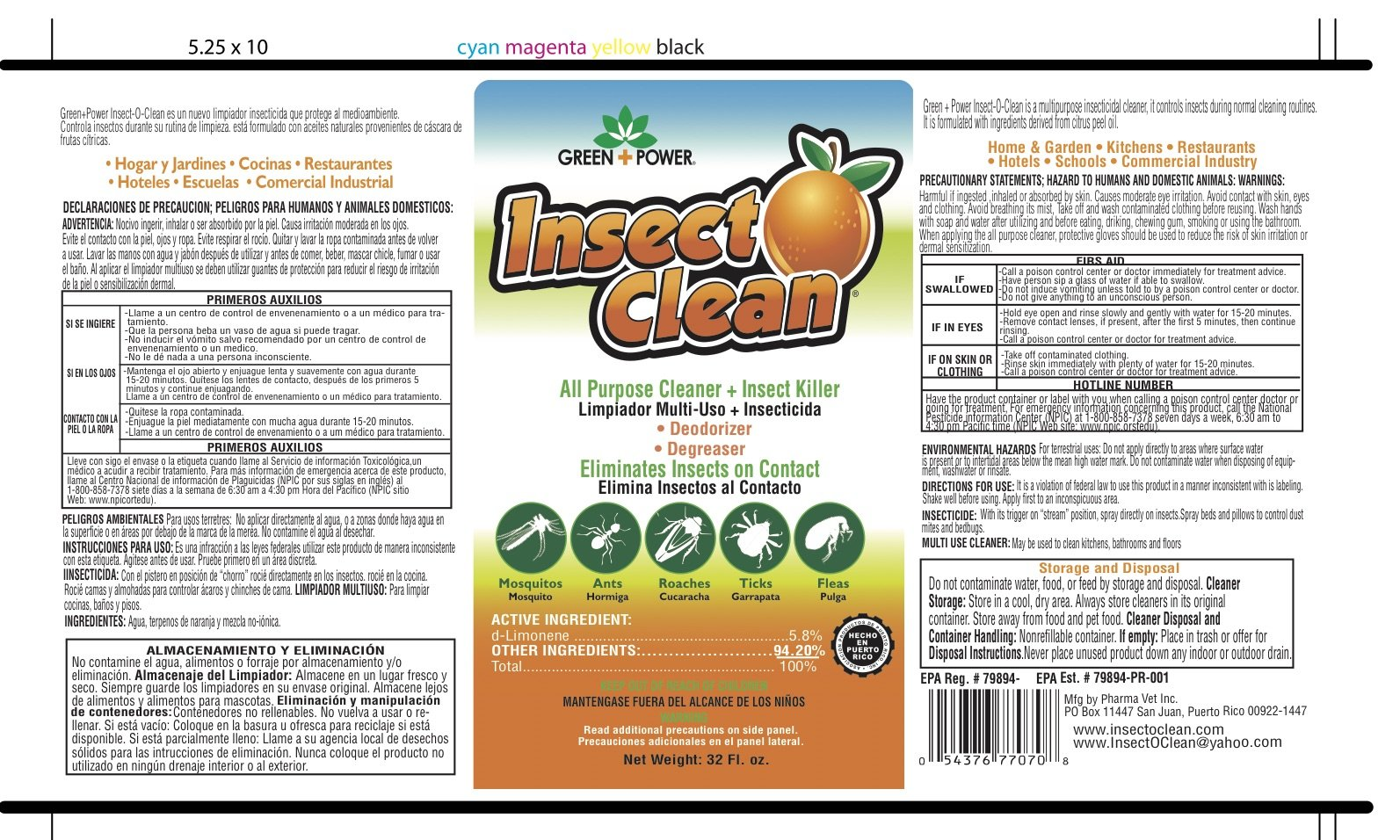 Insect-O-Clean with D-Limonene - The Natural All Purpose Cleaner + Insect Killer