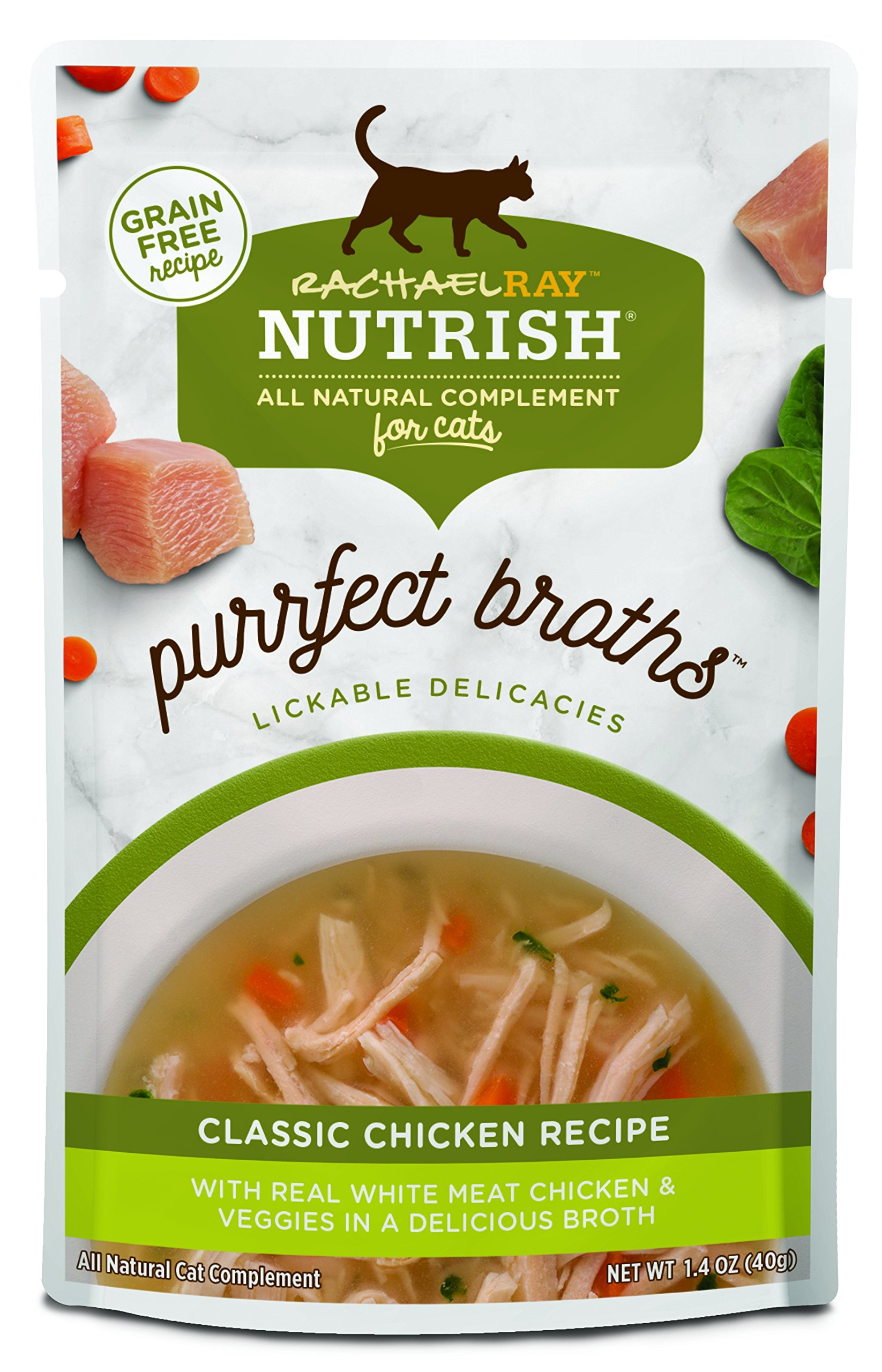 Rachael Ray Nutrish Purrfect Broths All Natural Wet Food Complement for Cats, Grain Free Classic Chicken Recipe, 1.4 oz. Pouch (Pack of 24) by Rachael Ray Nutrish