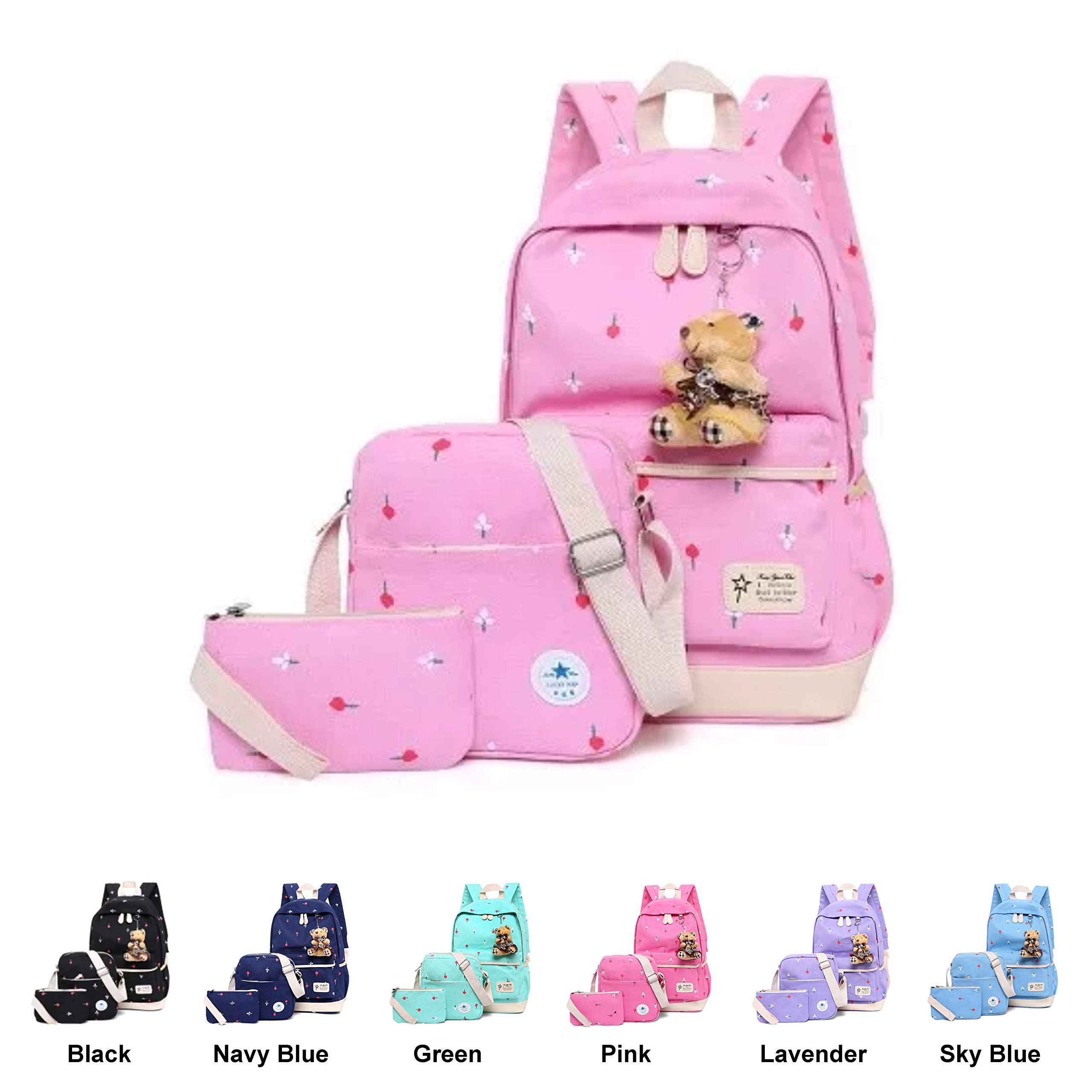 Queenie - Cotton Canvas School Backpack Casual Daypack Shoulder Bag for Kids Girls Boys (6111 Pink)