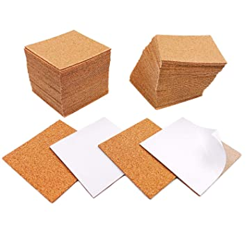 80 Pack Self Adhesive Cork Sheets Diy Coaster Square Cork Coasters Premium Mini Wall Cork Tiles Ultra Strong Self Adhesive Backing 4 X4