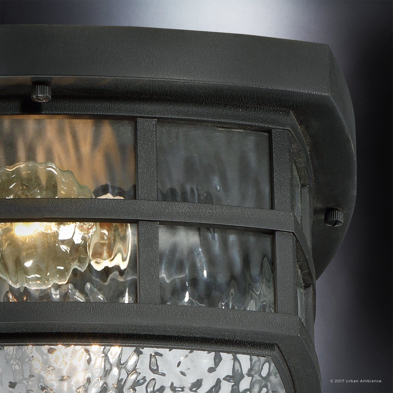 Luxury Craftsman Outdoor Ceiling Light, Small Size: 5.75''H x 12''W, with Tudor Style Elements, Highly-Detailed Design, High-End Black Silk Finish and Water Glass, UQL1248 by Urban Ambiance by Urban Ambiance (Image #4)