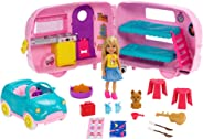 Barbie Club Chelsea Camper Playset with Chelsea Doll, Puppy, Car, Camper, Firepit, Guitar and 10 Accessories, Gift for 3 to