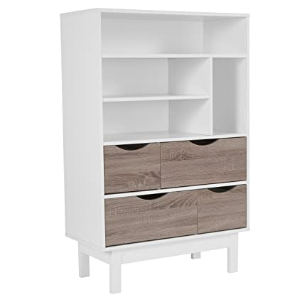 Flash Furniture St Claire Collection Bookshelf And Storage Cabinet In White Finish With Oak Wood