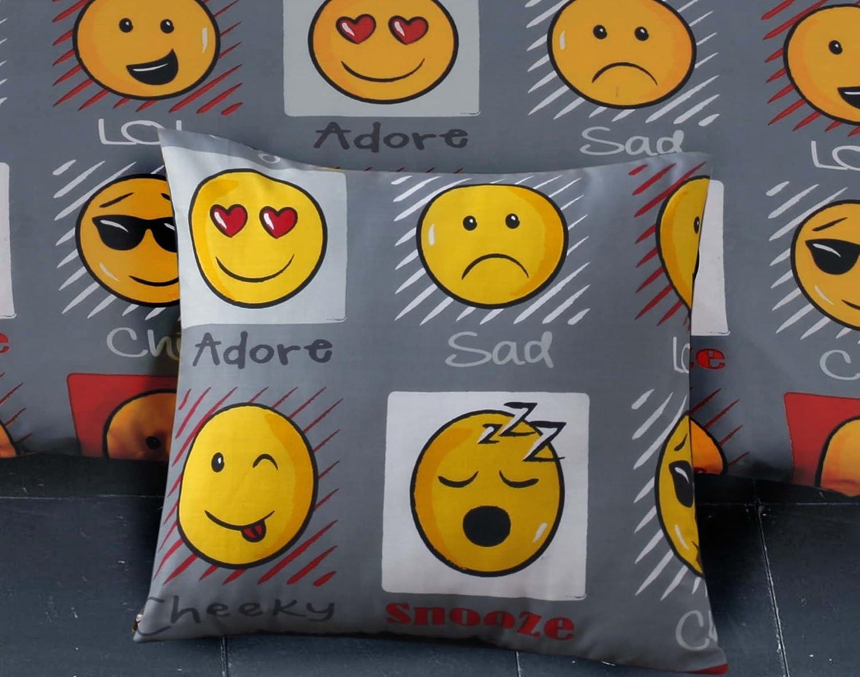 Emoji Expressions Smiley Face Cushion Cover Grey Angel's HUB