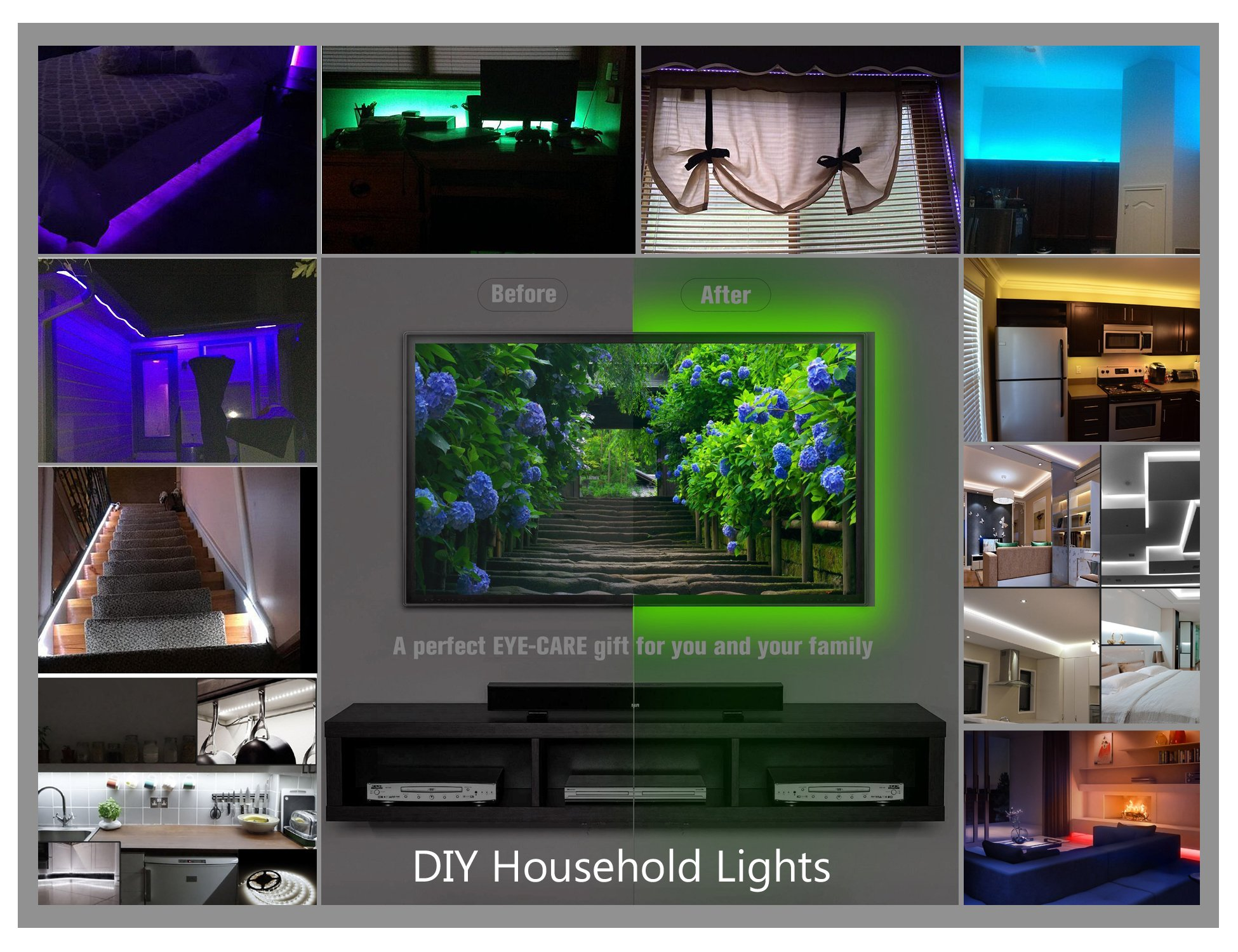 WYNK LED Strip Lights with Remote USB Back Light Fixture DIY 5050RGB Flexible 3.4M 104LED Color Changing Full Kit + 4 Connector + Remote Controller for Computer/TV/Home/Kitchen/Christmas Decorative by WYNK (Image #4)