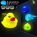 Cooleer Kids Toy Light Toy 4-Pack LED Baby Bathtime Toy,Floating Bath Toy Flash Light Animal Bath Toys,Rubber Shower Toys,Yellow Duck,Fish,Shark,Dolphin, 4 Bright Color Water Squirter Bathtub Toys