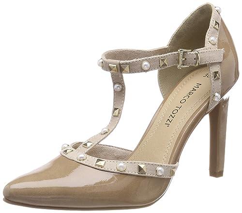 24412, Zapatos de Tacón para Mujer, Blanco (White Pat.Comb), 39 EU Marco Tozzi