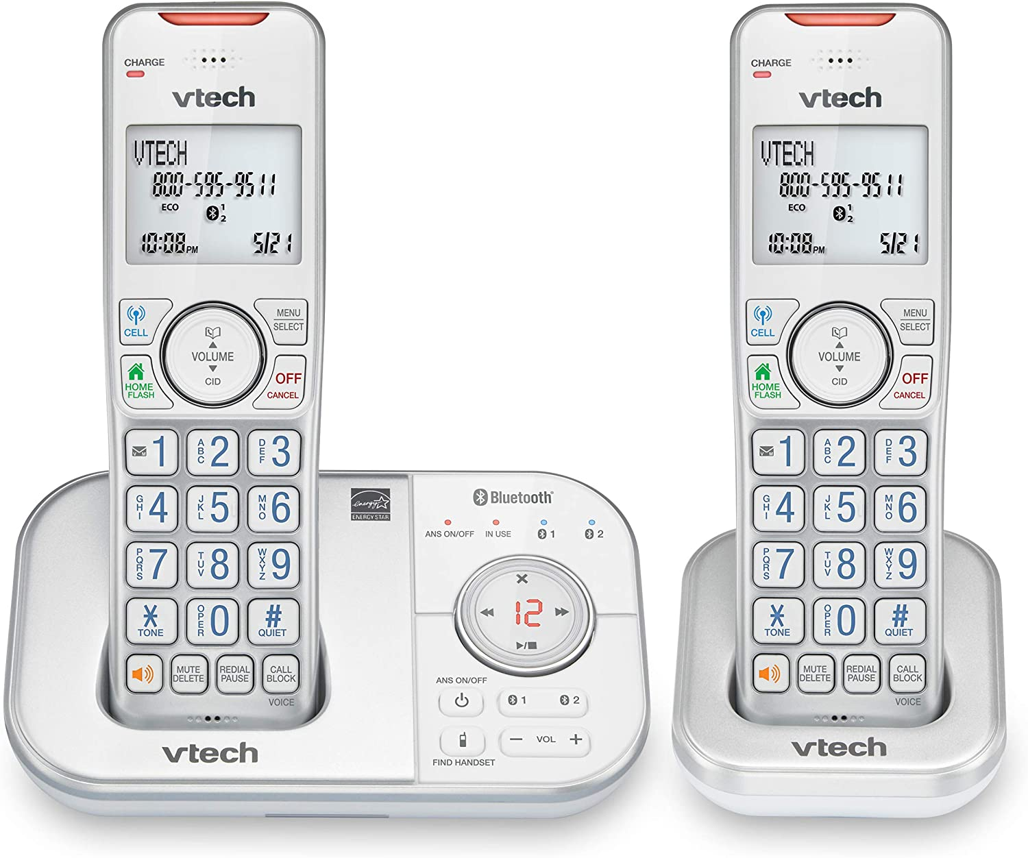 VTech VS112-27 DECT 6.0 Bluetooth 2 Handset Cordless Phone for Home with Answering Machine, Call Blocking, Caller ID, Intercom and Connect to Cell (Silver & White)