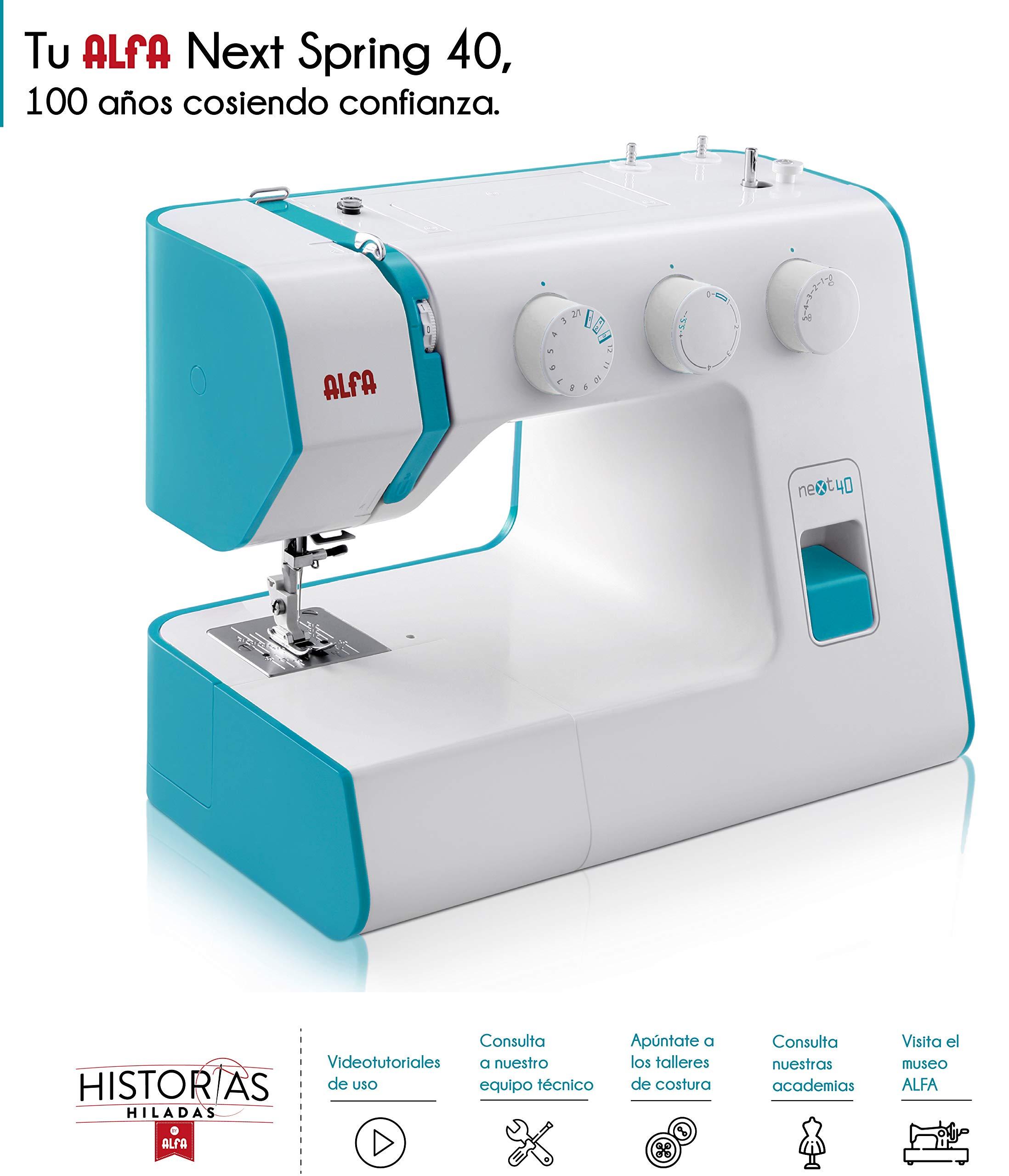 Alfa NEXT 40 Spring - Máquina de coser con 25 puntadas, color azul cielo product