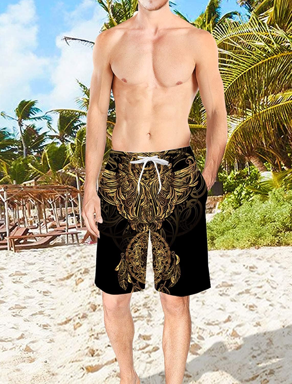 Voguard Mens 3D Printed Swim Trunks Sign of Motel Summer Beach Shorts with Elastic Waist Drawstring M