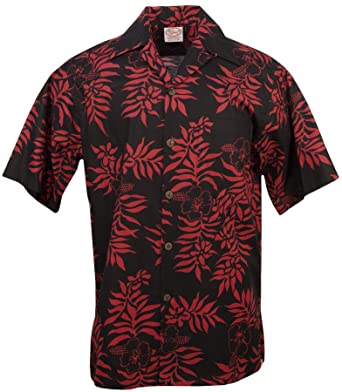 c05329ffd Go Barefoot - Mini Tahitian - Men's Hawaiian Print Aloha Shirt - in  Black-Red