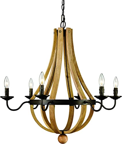 Trans Globe Lighting Trans Globe Imports 70605 Transitional Six Light Chandelier from Woodland Collection Dark Finish, 29.00 inches, Weathered Bronze