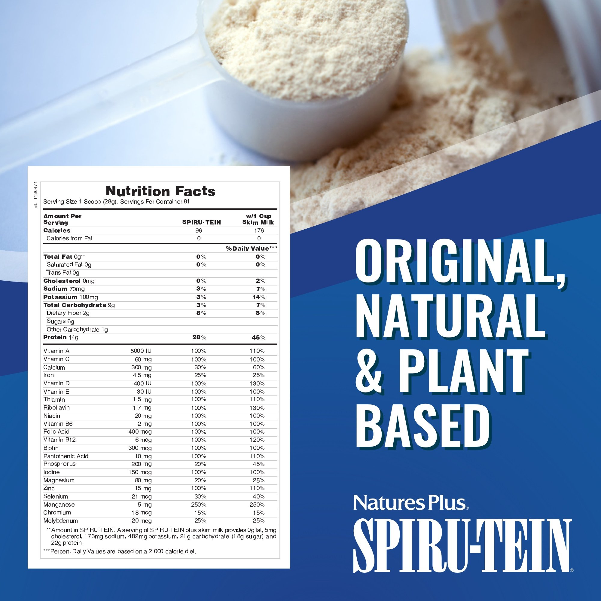 NaturesPlus SPIRU-TEIN Shake - Chocolate - 5 lbs, Spirulina Protein Powder - Plant Based Meal Replacement, Vitamins & Minerals For Energy - Vegetarian, Gluten-Free - 81 Servings by Nature's Plus (Image #6)