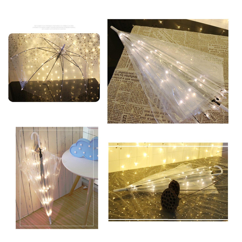 Areskey Transparent Umbrella,Umbrella Lights,an Umbrella Warm White Starry Lights,104 LED Decor Lights Wwdding,Travel,Summer,Night (Umbrella+Light)