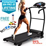 XM-PROIII TREADMILL - NEW 2017 Model Motorised Running Machine, Lightweight Folding , Powerful Motor 1100W, 12KPH Speed, 3 Level Manual Incline, Auto Lube, 12 Auto + 1 Manual Program, Speakers, Drinks Holder, Hand Controls, Heart Rate Sensors
