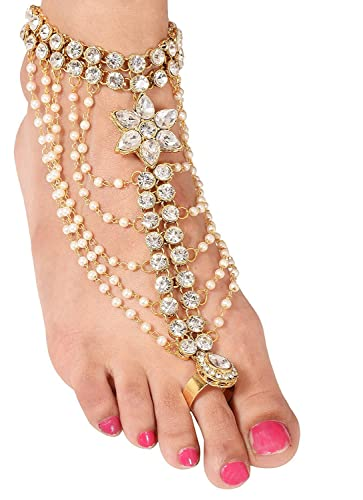 e22217db5 Buy Sanjog Gold Brass 1 Foot Anklet with Attached Toe Ring for Women-Pack of  1 Online at Low Prices in India