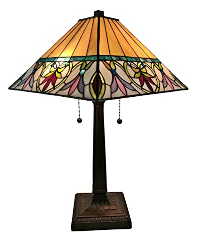 Tiffany Style Table Lamp Banker Mission 22 Tall Stained Glass Tan Red Orange Green Vintage Antique Light D cor Living Room Bedroom Night Stand Handmade Gift AM302TL14 Amora Lighting