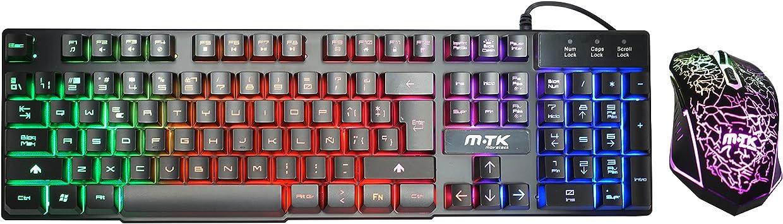 MTK® Pack de Teclado y Ratón Gaming Retroiluminado LED Teclado ...