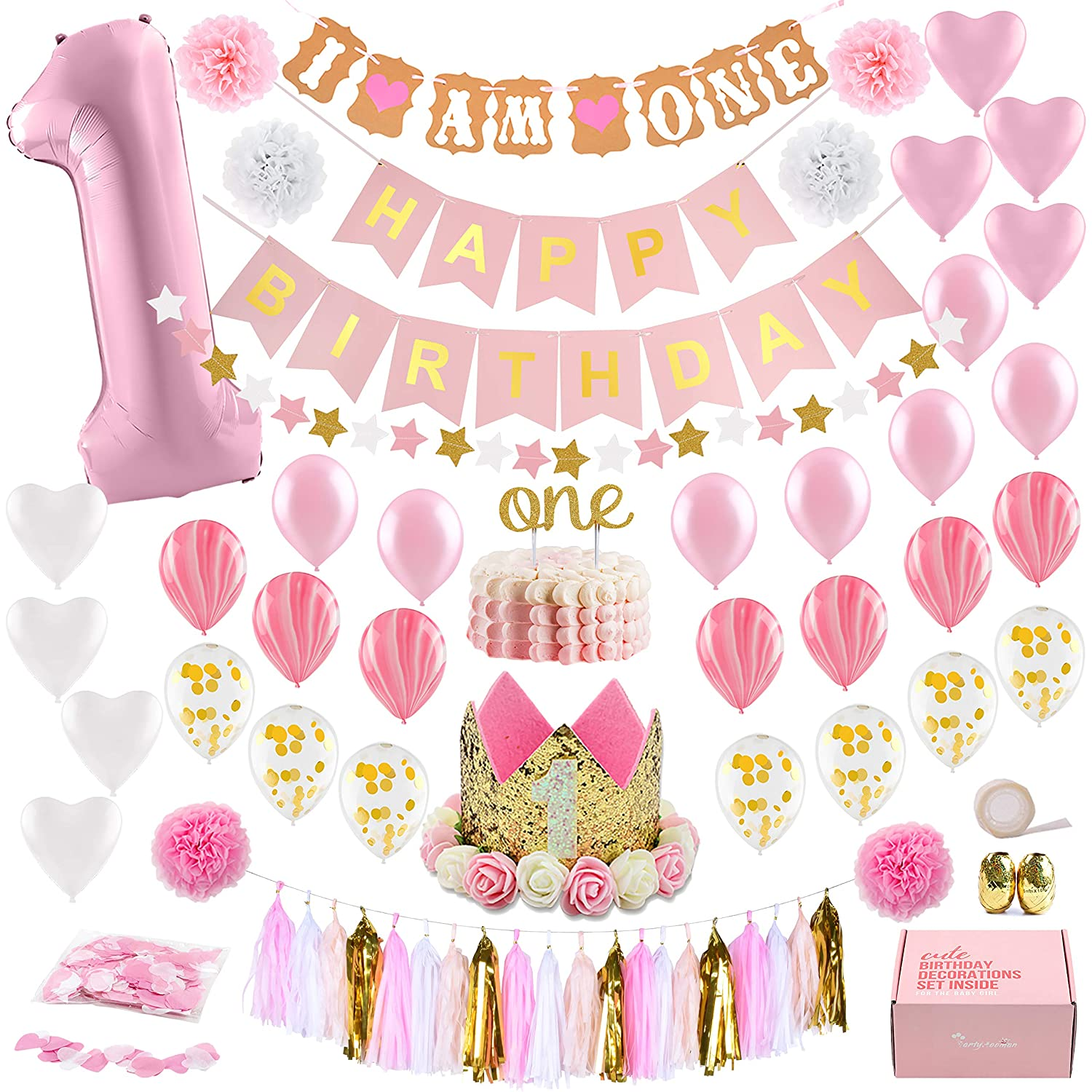 Baby Girl First Birthday Decorations with Birthday Crown - 1st Birthday Girl Decorations - Pink and Gold Party Supplies - Number One, Heart and Confetti Balloons, Happy Birthday Banner...