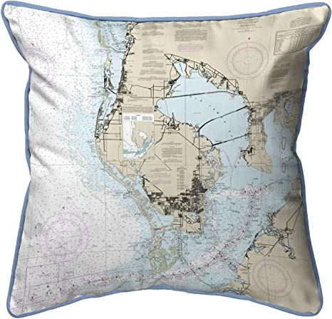 Amazon Com Tampa Bay Fl Nautical Map Small Corded Indoor Outdoor Pillow 11x14 Multi Color Graphic Print Coastal Polyester One Water Resistant Home Kitchen