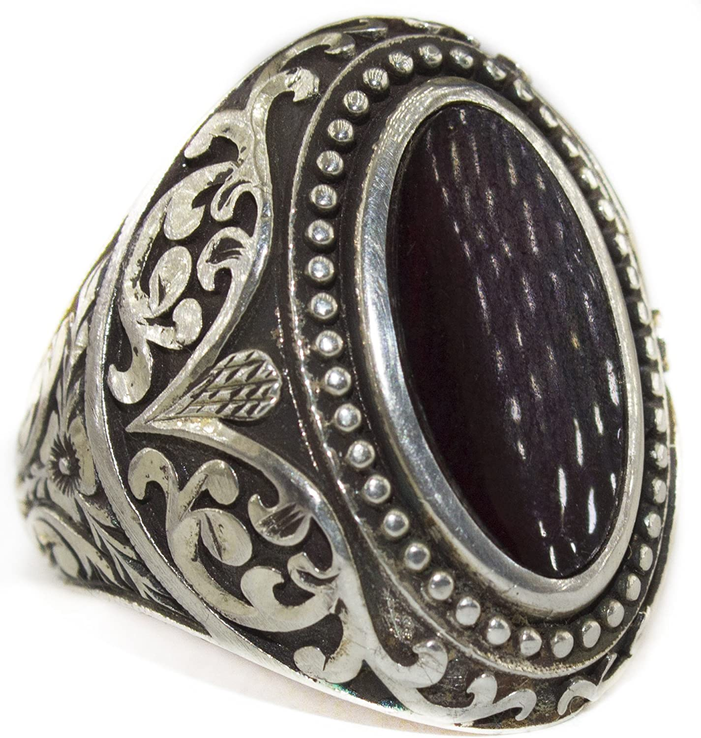 Falcon Jewelry Sterling Silver Men Ring Steel Pen Craft Onyx Natural Gemstone