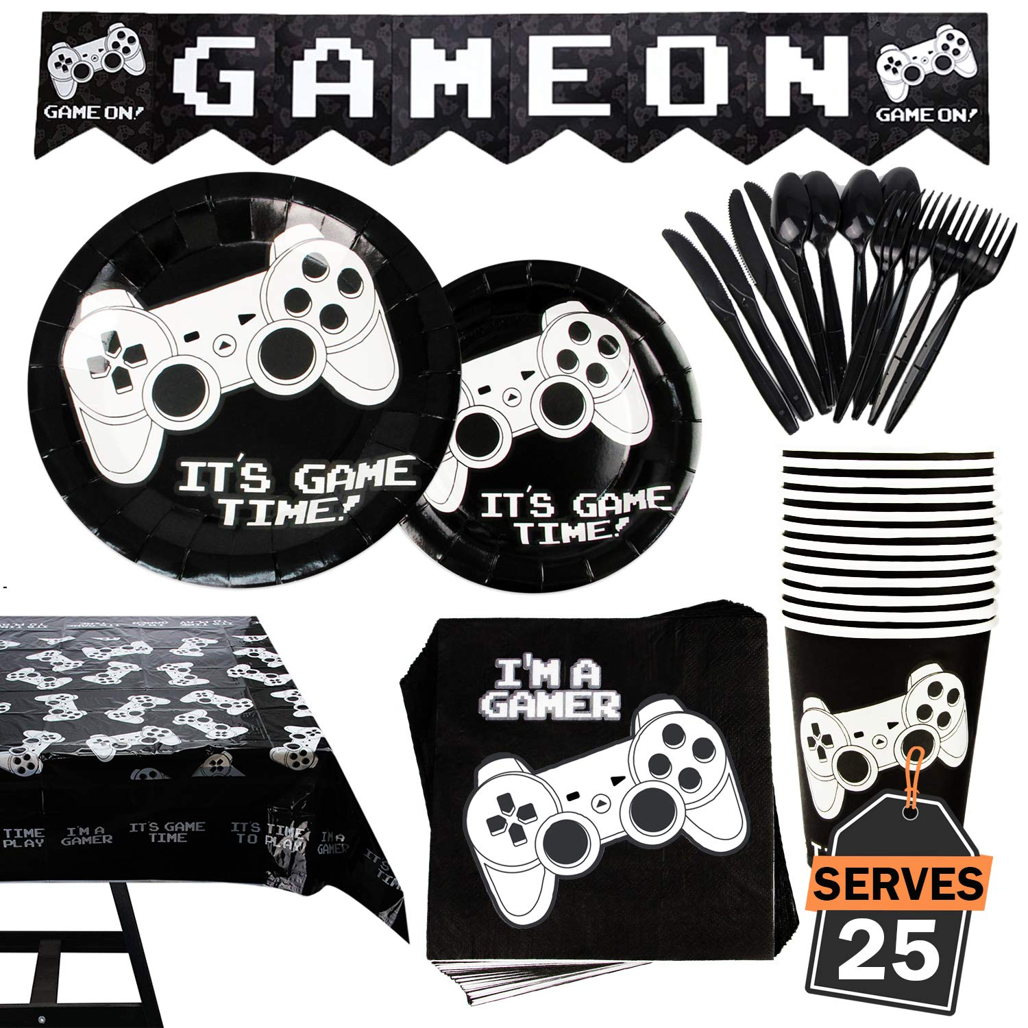 177 Piece Video Gaming Party Supplies Set Including Banner, Plates, Cups, Napkins, Tablecloth, Spoon, Forks, and Knives, Serves 25 by Scale Rank