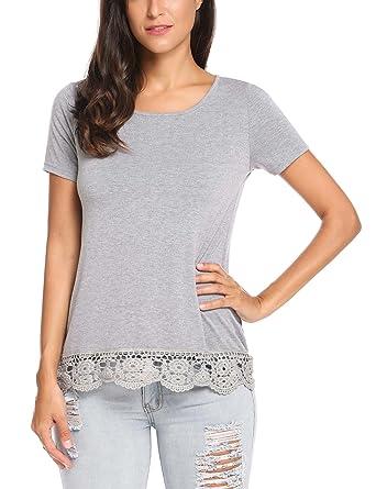 Parabler Damen Sommer T-Shirt Kurzarm Tops mit Floral Spitze Spitzenshirt  Bluse Hemd Shirt Tunika f67736a459