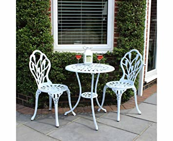 Lot de 2 chaises et 1 table motif tulipes - salon de jardin style ...