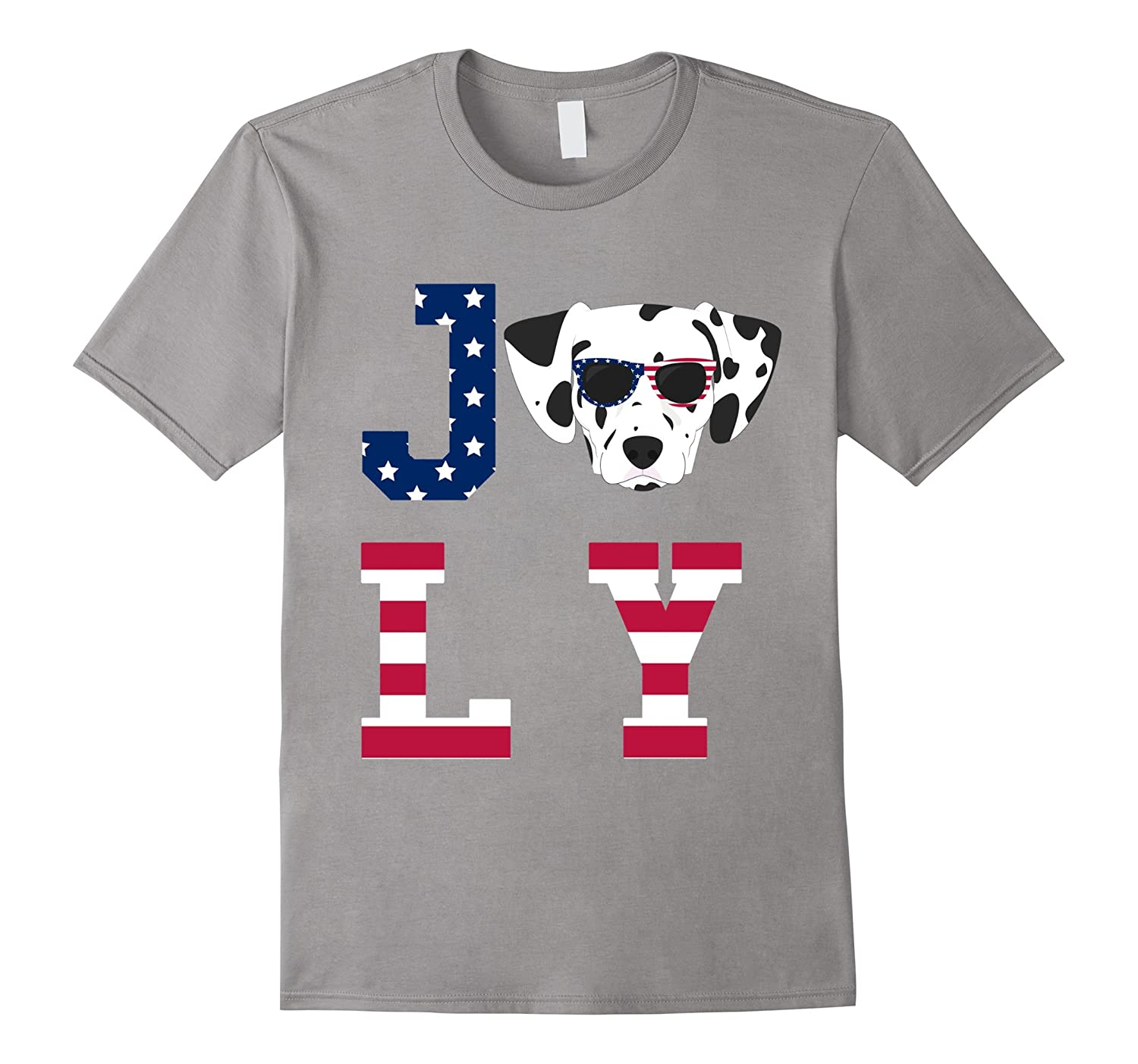 4th of July - Dalmatian American Flag Dog T-Shirt-Art