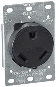 Leviton 7313-S00 30 Amp, 125 Volt, NEMA TT-30R, 2P, 3W, Flush Mtg Receptacle, Straight Blade, Industrial Grade, Grounding Side Wired, Steel Strap - Black,