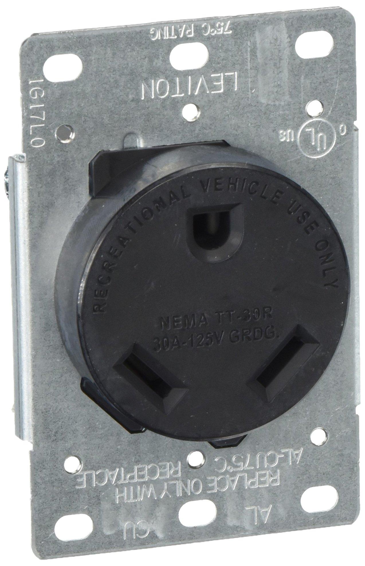 Leviton 7313-S00 30 Amp, 125 Volt, Nema TT-30R, 2P, 3W, Flush Mtg Receptacle, Straight Blade, Industrial Grade, Grounding Side Wired, Steel Strap-Black