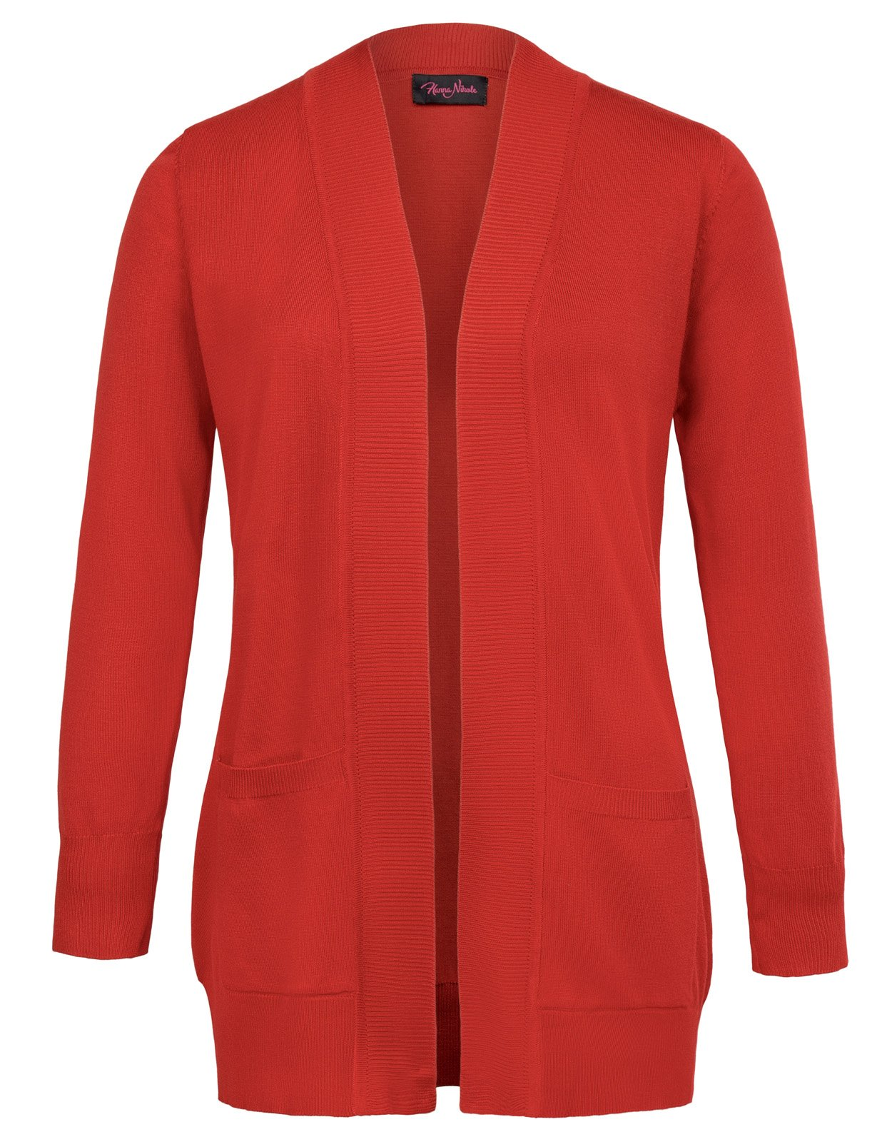 Hanna Nikole Women's Long Sleeve Open Front Plus Size Loose Fit Cardigan With Pocket Size 2X Red
