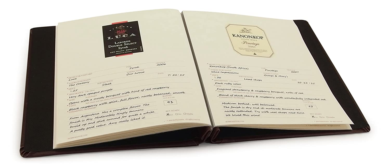 Cellar Notes Leather Wine Label and Tasting Journal (Black) - holds your tasting notes, ratings and labels from the bottles - Never forget that great wine - Classy and expandable - Includes helpful tips on how to taste and rate wine - A great gift for any