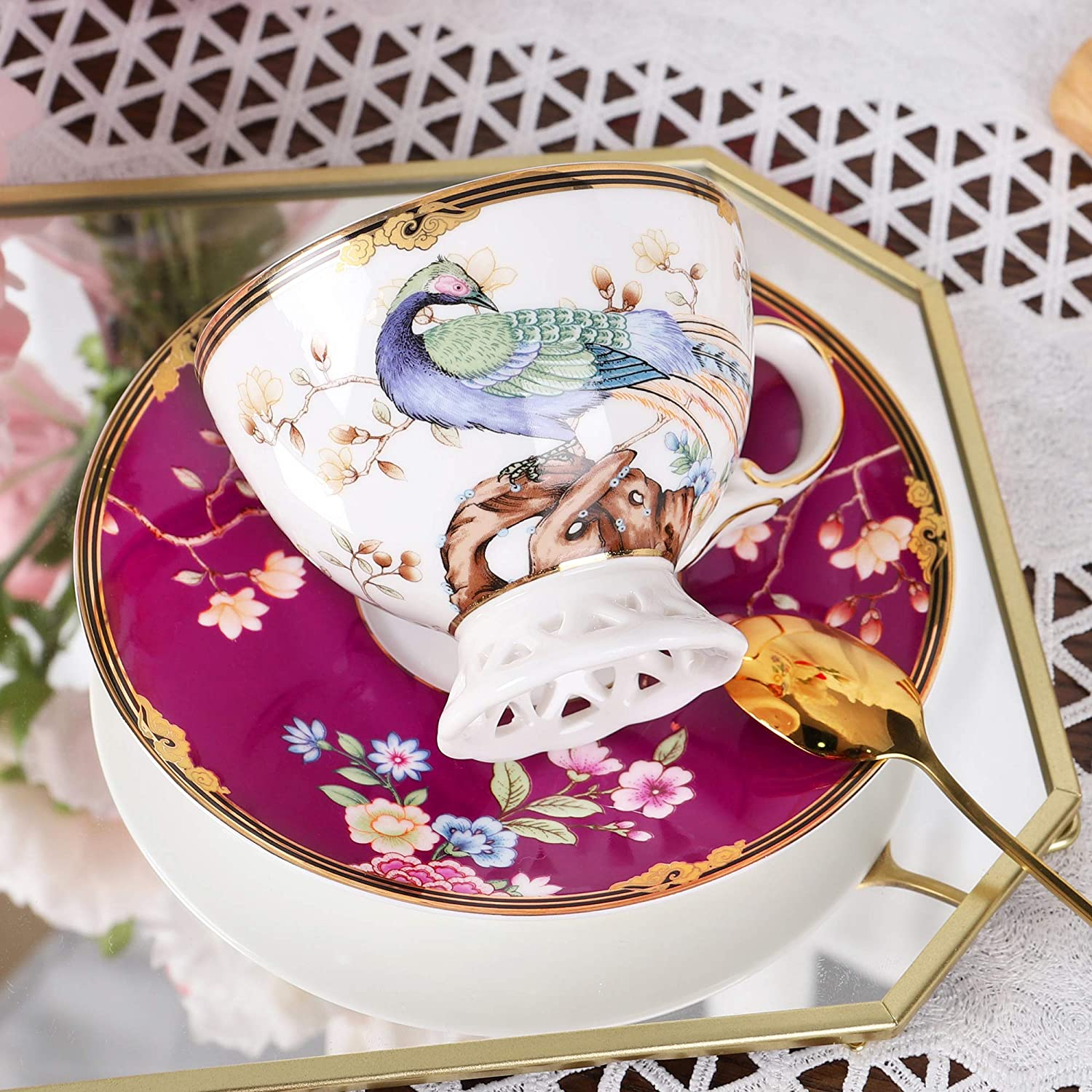 fanquare 7oz Purple Bird Fine Bone China Coffee Cup,Peacock Porcelain Tea Cup and Saucer Set,Cappuccino Cup