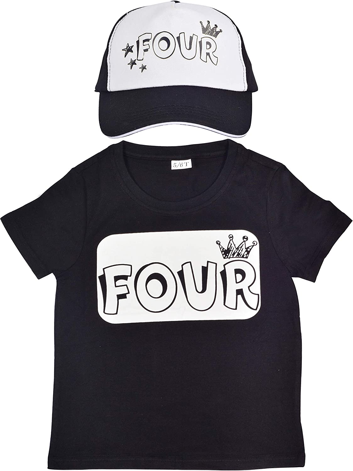4th Birthday Shirt for Boy, 4 Years Old Birthday Party, I am Four, 4th Birthday Hat, Truker Hat for Kids 4th Birthday, Happy 4th Birthday Shirt with FOUR Pattern Print, Perfect Gift Pack for 4 Year Ol