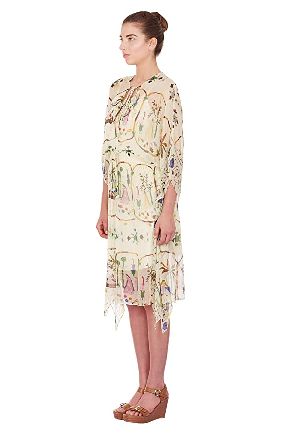 978d52fb8b Ritu Kumar Label Beige Indian History Inspired Digital Printed Kaftan Dress:  Amazon.in: Clothing & Accessories