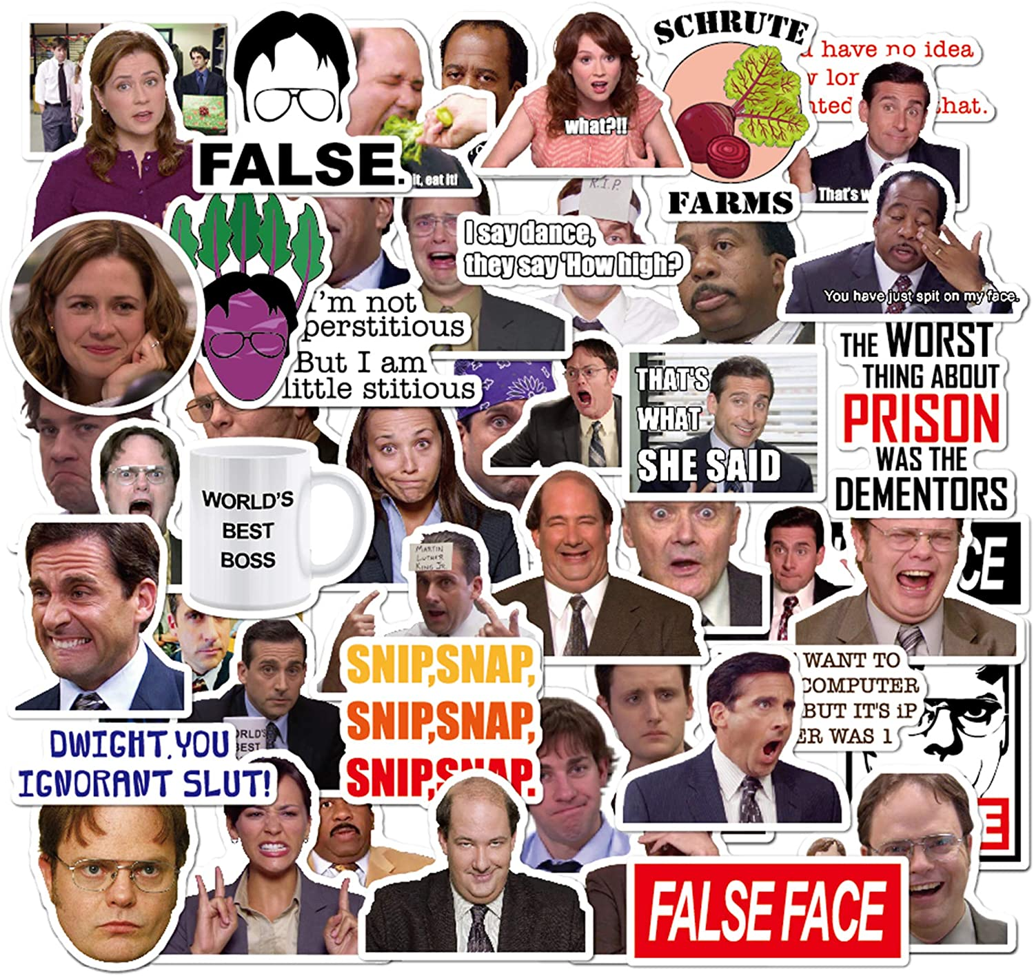 The Office Sticker Pack of 50 Stickers - The Office Stickers for Laptops, The Office Laptop Stickers, Funny Stickers for Laptops, Computers, Hydro Flasks (The Office)