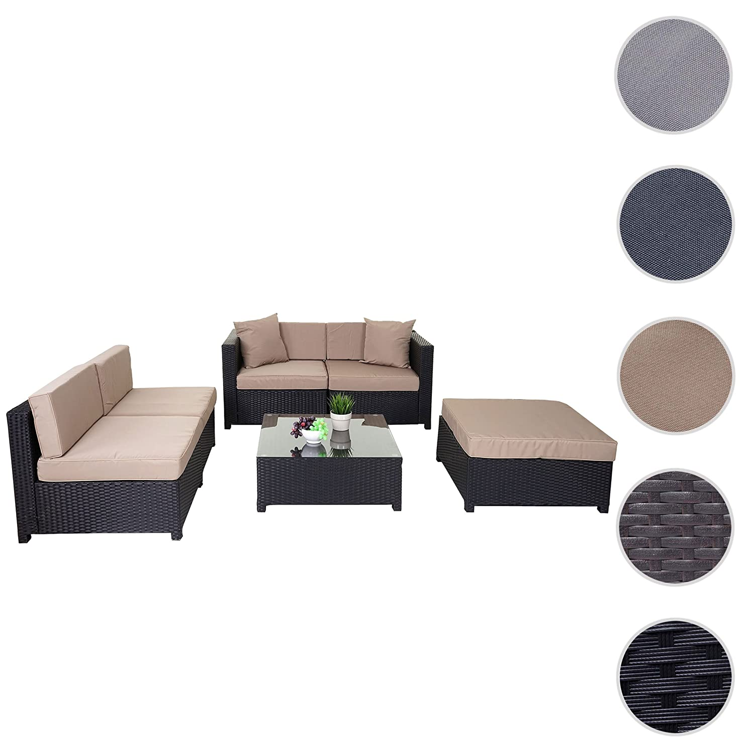 poly rattan garnitur tapa gartengarnitur sitzgruppe lounge set alu anthrazit kissen beige. Black Bedroom Furniture Sets. Home Design Ideas